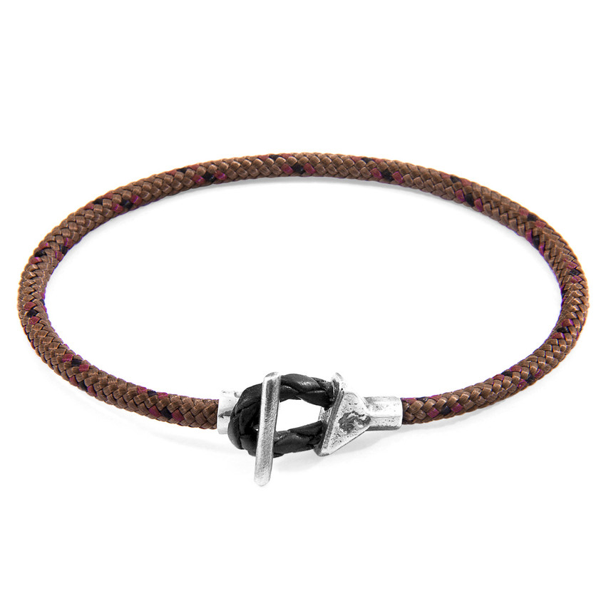 Anchor & Crew Brown Cullen Silver and Rope Bracelet
