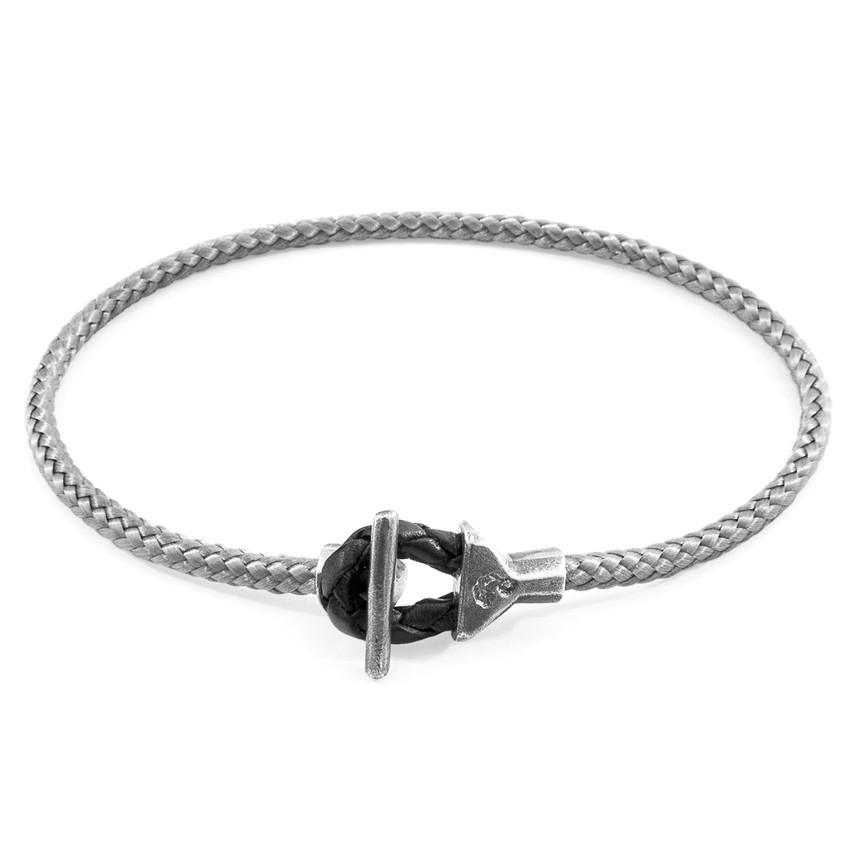 Anchor & Crew Classic Grey Cullen Silver and Rope Bracelet