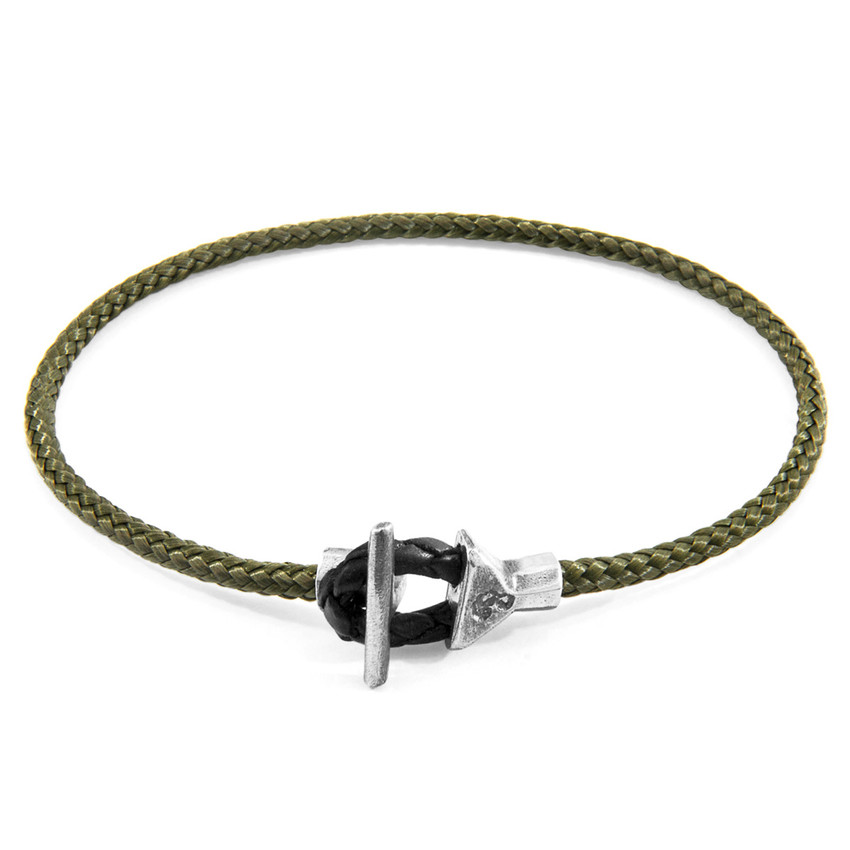 Anchor & Crew Khaki Green Cullen Silver and Rope Bracelet