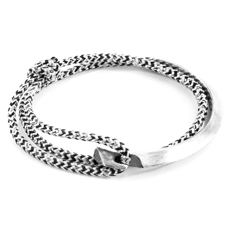 Anchor & Crew White Noir Hove Silver and Rope Bracelet