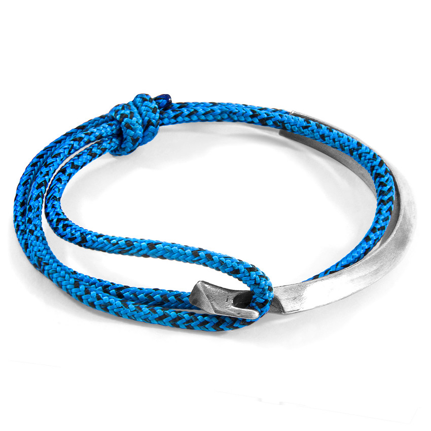 Anchor & Crew Blue Noir Hove Silver and Rope Bracelet