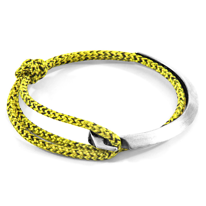 Anchor & Crew Yellow Noir Hove Silver and Rope Bracelet