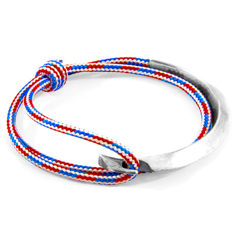 Anchor & Crew Project-RWB Red White and Blue Hove Silver and Rope Bracelet