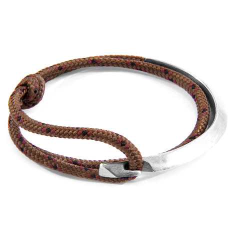 Anchor & Crew Brown Hove Silver and Rope Bracelet
