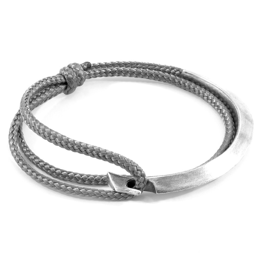 Anchor & Crew Classic Grey Hove Silver and Rope Bracelet