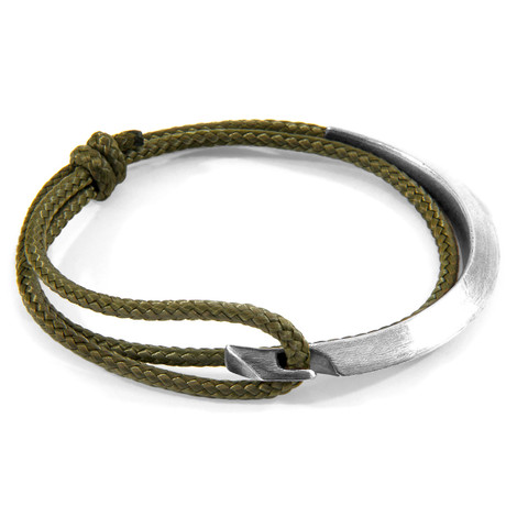 Anchor & Crew Khaki Green Hove Silver and Rope Bracelet