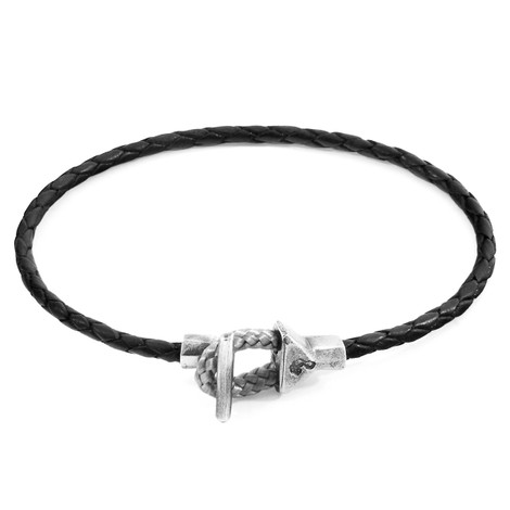Anchor & Crew Coal Black Cullen Silver and Braided Leather Bracelet