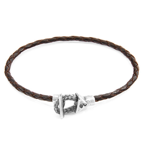 Anchor & Crew Dark Brown Cullen Silver and Braided Leather Bracelet