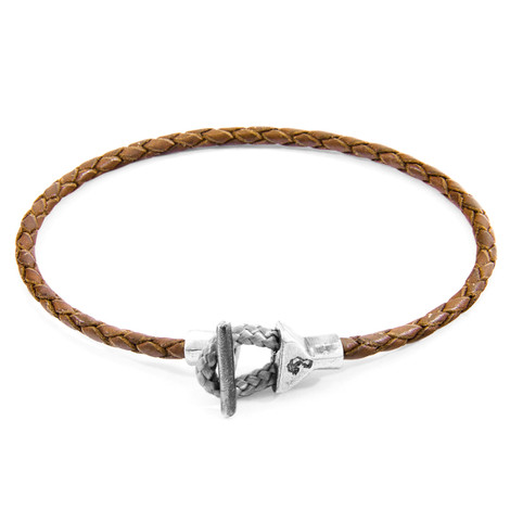 Anchor & Crew Light Brown Cullen Silver and Braided Leather Bracelet
