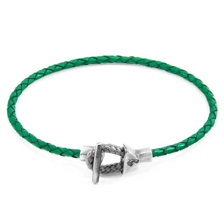 Anchor & Crew Fern Green Cullen Silver and Braided Leather Bracelet