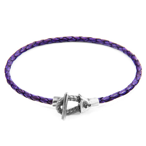 Anchor & Crew Grape Purple Cullen Silver and Braided Leather Bracelet