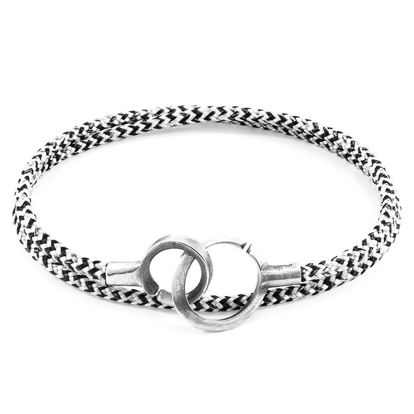 Anchor & Crew White Noir Montrose Silver and Rope Bracelet