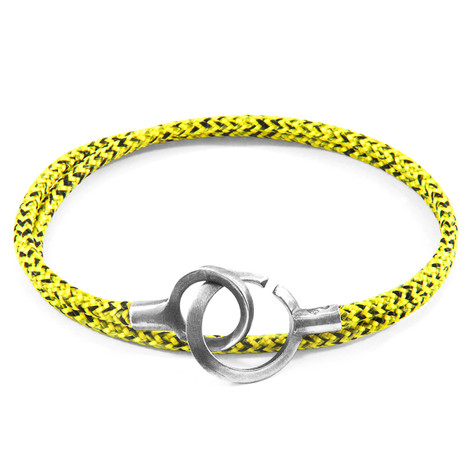 Anchor & Crew Yellow Noir Montrose Silver and Rope Bracelet