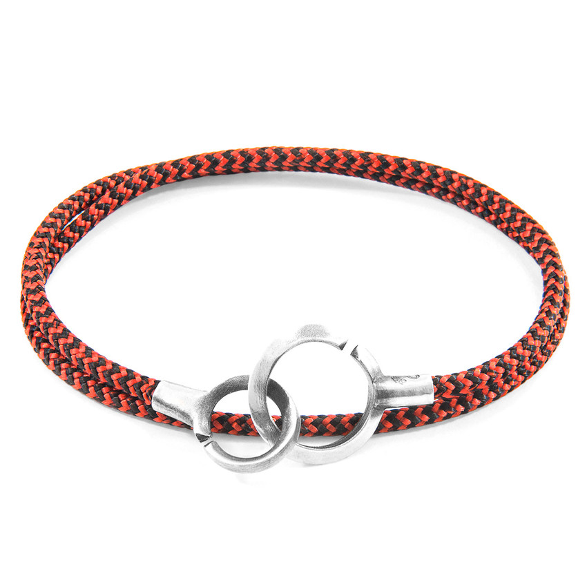 Anchor & Crew Red Noir Montrose Silver and Rope Bracelet