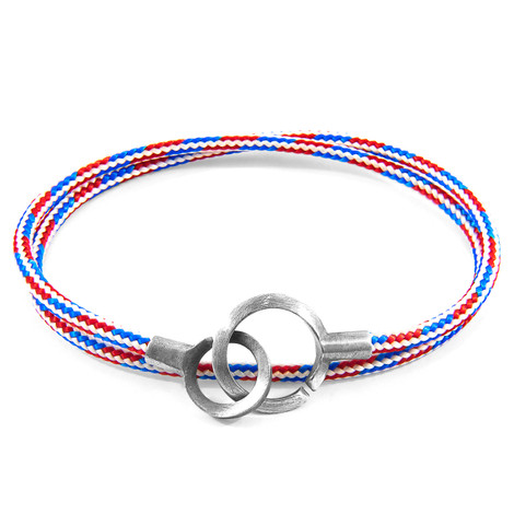 Anchor & Crew Project-RWB Red White and Blue Montrose Silver and Rope Bracelet