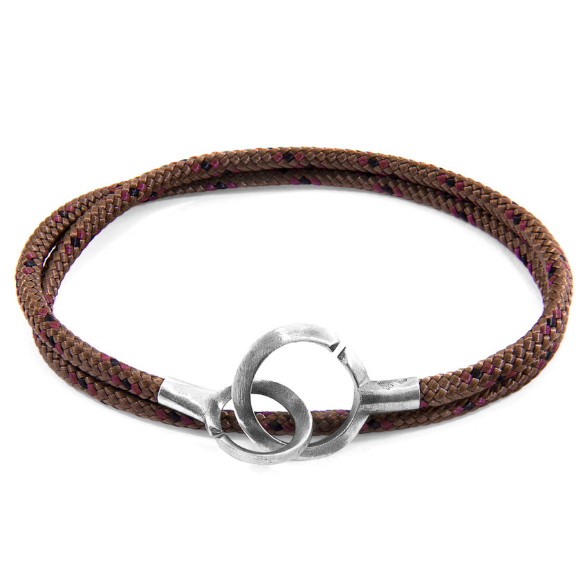 Anchor & Crew Brown Montrose Silver and Rope Bracelet