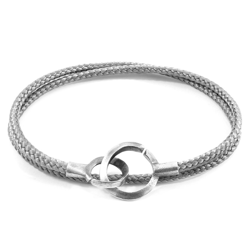 Anchor & Crew Classic Grey Montrose Silver and Rope Bracelet