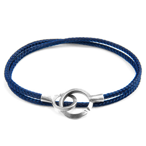 Anchor & Crew Navy Blue Montrose Silver and Rope Bracelet