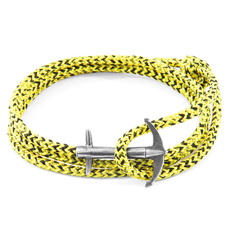 Anchor & Crew Yellow Noir Admiral Silver and Rope Bracelet