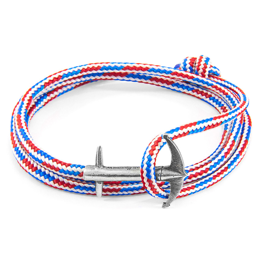 Anchor & Crew Project-RWB Red White and Blue Admiral Silver and Rope Bracelet