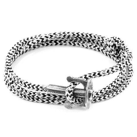 Anchor And Crew Blanco y Negro Union Pulsera de Ancla en Plata y Cuerda