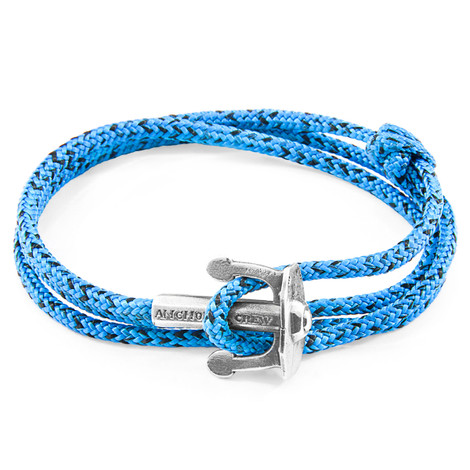 Anchor And Crew Bracciale Ancora Union d'Argento e Corda Blu e Nera