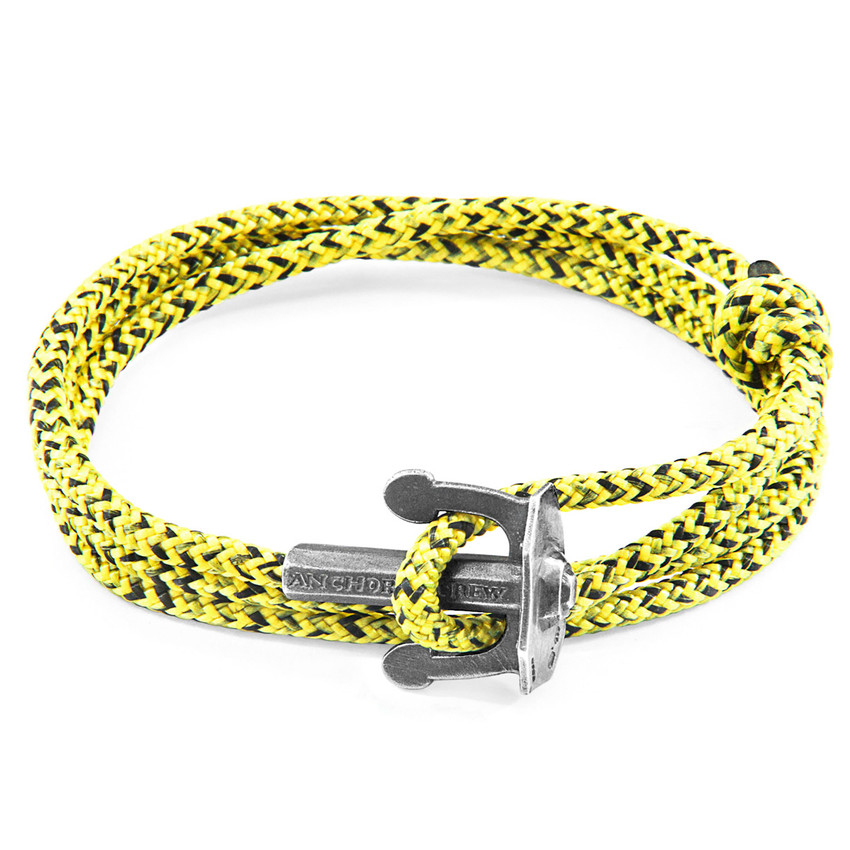 Anchor & Crew Yellow Noir Union Silver and Rope Bracelet