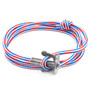 Anchor & Crew Project-RWB Red White and Blue Union Silver and Rope Bracelet