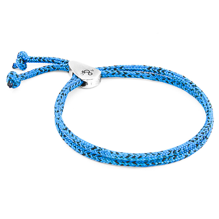 Anchor & Crew Blue Noir Pembroke Silver and Rope Bracelet