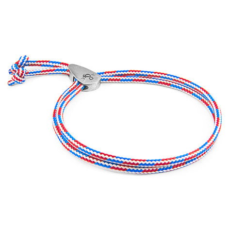 Anchor & Crew Project-RWB Red White and Blue Pembroke Silver and Rope Bracelet
