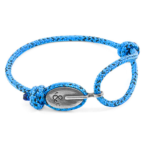 Anchor And Crew Bracciale London d'Argento e Corda Blu e Nera