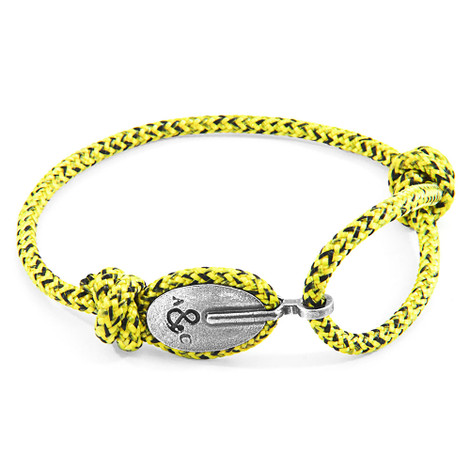 Anchor And Crew Amarillo y Negro Pulsera de London en Plata y Cuerda