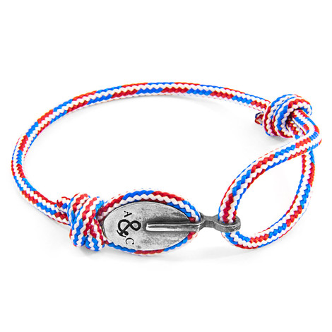 Anchor And Crew Proyecto-RWB Rojo Blanco y Azul Pulsera de London en Plata y Cuerda