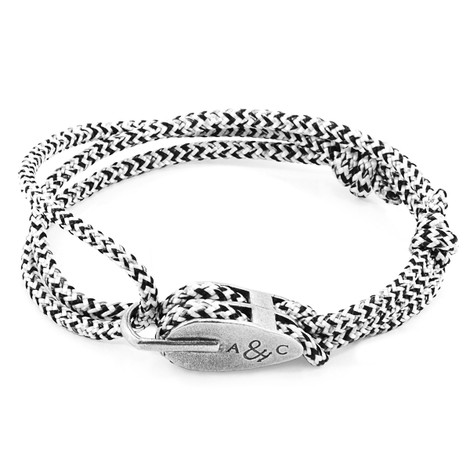 Anchor And Crew Blanco y Negro Pulsera de Tyne en Plata y Cuerda