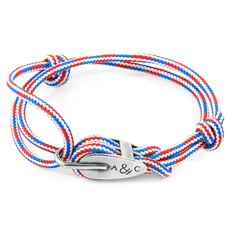 Anchor & Crew Project-RWB Red White and Blue Tyne Silver and Rope Bracelet