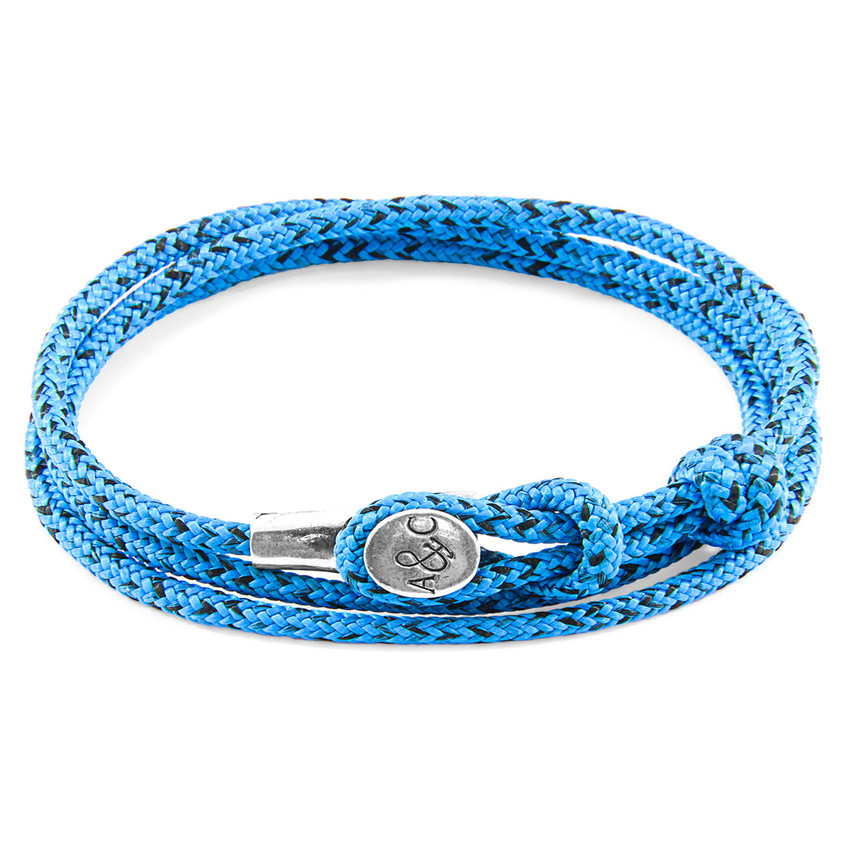 Anchor & Crew Blue Noir Dundee Silver and Rope Bracelet