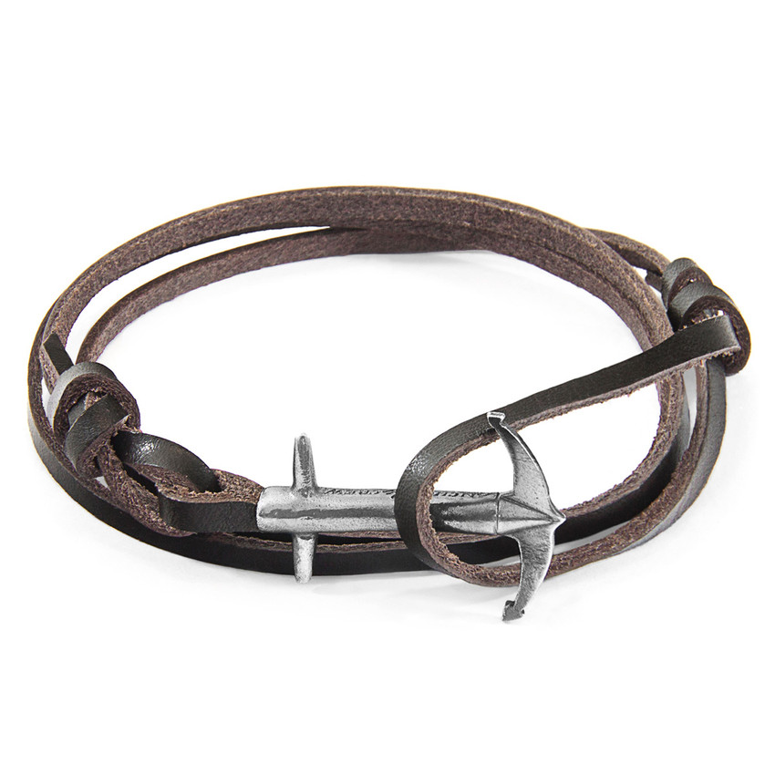 Anchor & Crew Dark Brown Admiral Anchor Silver and Flat Leather Bracelet