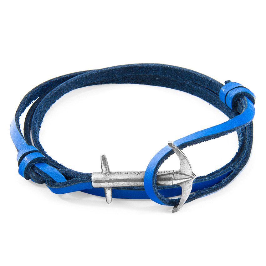 Anchor & Crew Royal Blue Admiral Anchor Silver and Flat Leather Bracelet