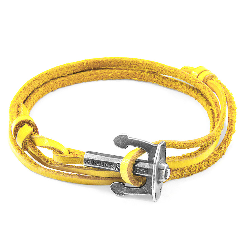 Anchor & Crew Mustard Yellow Union Anchor Silver and Flat Leather Bracelet