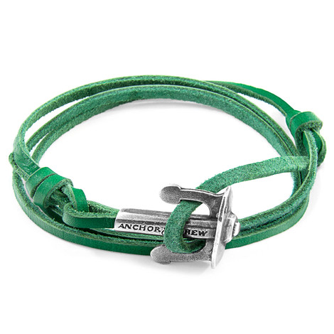 Anchor & Crew Fern Green Union Anchor Silver and Flat Leather Bracelet