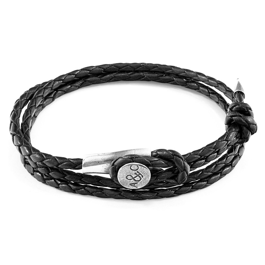 Anchor & Crew Coal Black Dundee Silver and Braided Leather Bracelet
