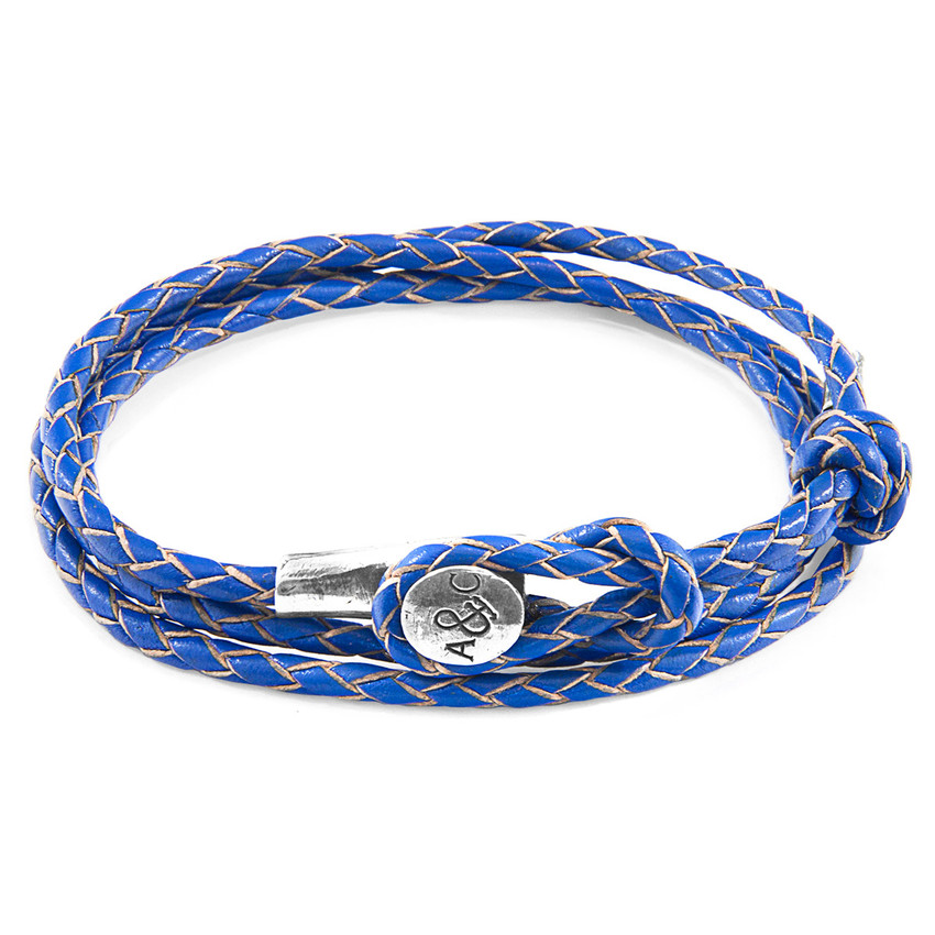 Anchor & Crew Royal Blue Dundee Silver and Braided Leather Bracel