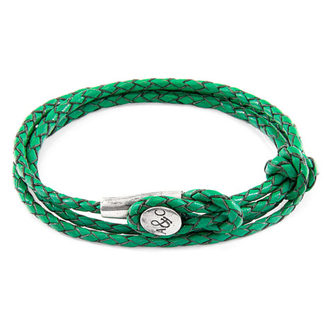 Anchor & Crew Fern Green Dundee Silver and Braided Leather Bracelet