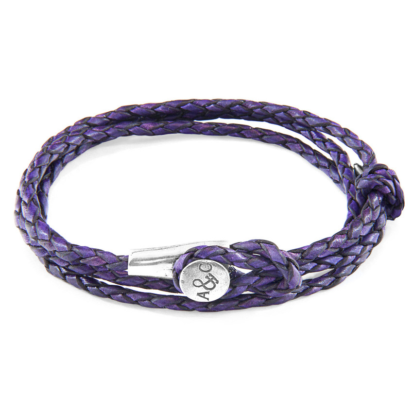 Anchor & Crew Grape Purple Dundee Silver and Braided Leather Bracelet