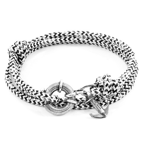 Anchor & Crew White Noir Clyde Silver and Rope Bracelet