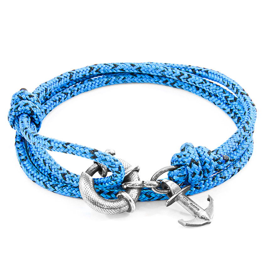 Anchor & Crew Blue Noir Clyde Silver and Rope Bracelet