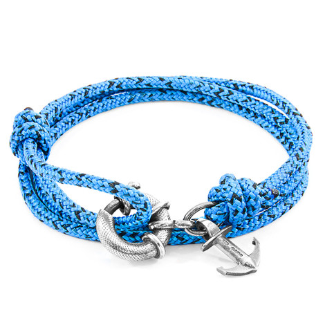 Anchor And Crew Bracciale Ancora Clyde d'Argento e Corda Blu e Nera