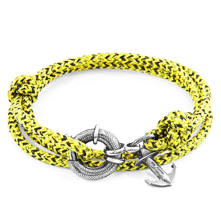 Anchor & Crew Yellow Noir Clyde Silver and Rope Bracelet