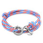 Anchor & Crew Project-RWB Red White And Blue Clyde Silver and Rope Bracelet