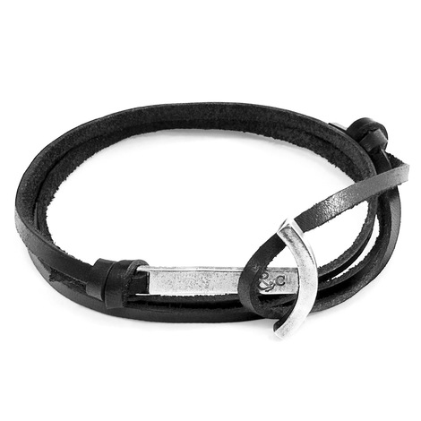 Anchor & Crew Coal Black Clipper Silver and Flat Leather Bracelet